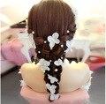 Nupcial blanco de la Flor Perla Simulada Flaxen Hair Sticks Hairbands Accesorios Pelo de La Boda Joyería Tiara Novia bijoux de tete