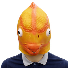 цены Funny Goldfish Latex Mask Fish Head Mask Halloween Cosplay Costume Prop Festival Party Supplies New Props Mask