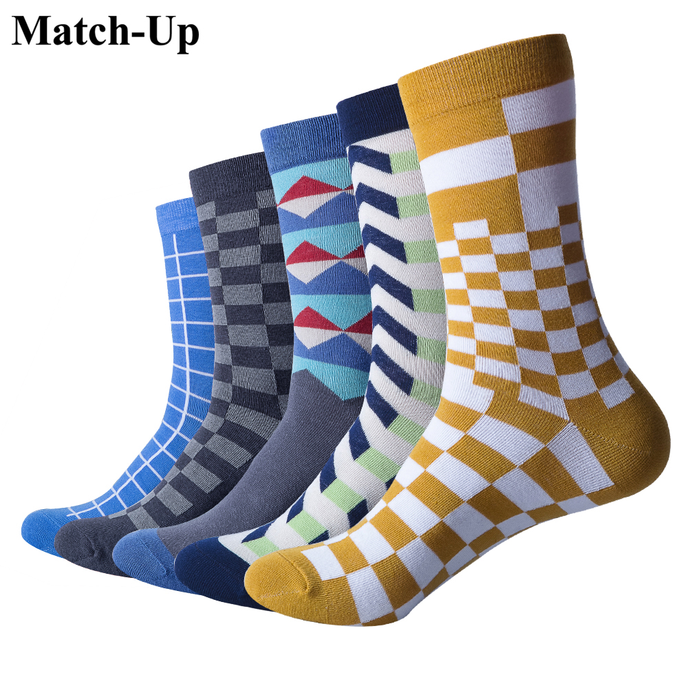 Match-Up Men Plaid Business Casual Combed Cotton Socks (5 pairs/lot )