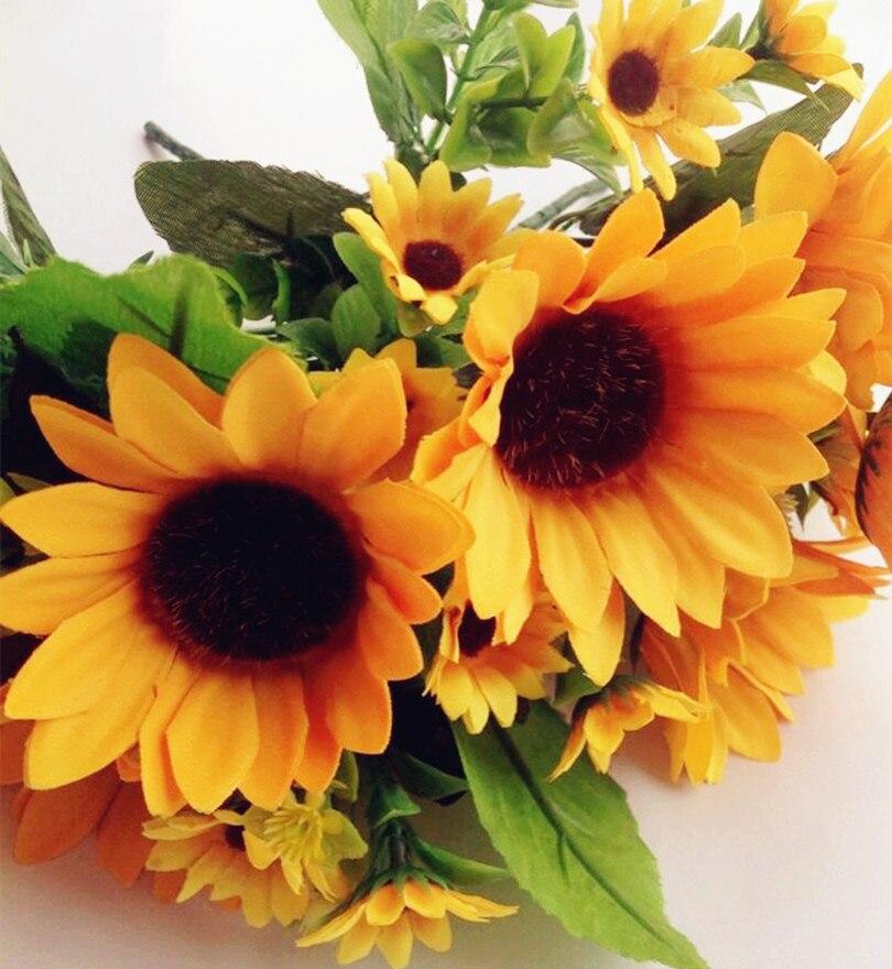 unids por lote falsos girasol manojo amarillo flor decorativa artificial gerbera flores para la boda