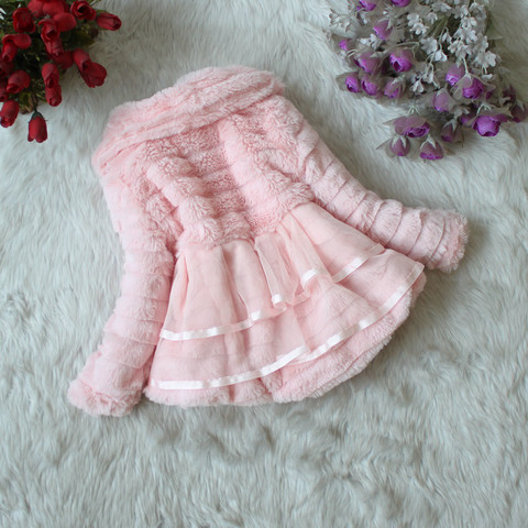 Girls Fur Coat Clothing With Pearl Lace Flower Autumn Winter Wear Clothes Baby Children Faux Fur Dress Dresses Style Jacket 2017 Multan
