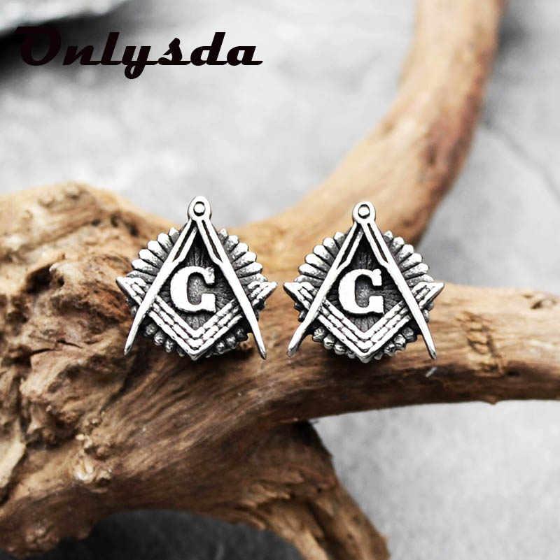Onlysda gorąca sprzedaż moda G list masoński Origami stadniny kolczyki ze stali nierdzewnej Punk rock Geometric shape biżuteria na mężczyzna prezent ES104