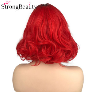 Image 4 - StrongBeauty Short Red Wigs Body Wave Synthetic Wig Women Lady Heat Resistant Hair