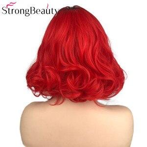 Image 4 - StrongBeauty قصيرة الأحمر الباروكات الجسم موجة شعر مستعار اصطناعي المرأة سيدة الحرارة مقاومة الشعر