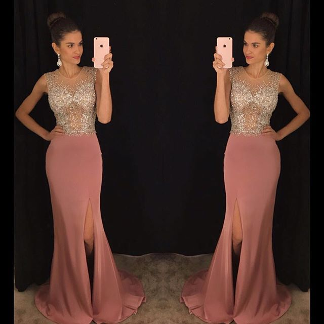 1e10fc38d1 Charming Rose Pink Mermaid Prom Dress Shining Sparking Beading Front Slit  Dress Evening Party Dresses 2017