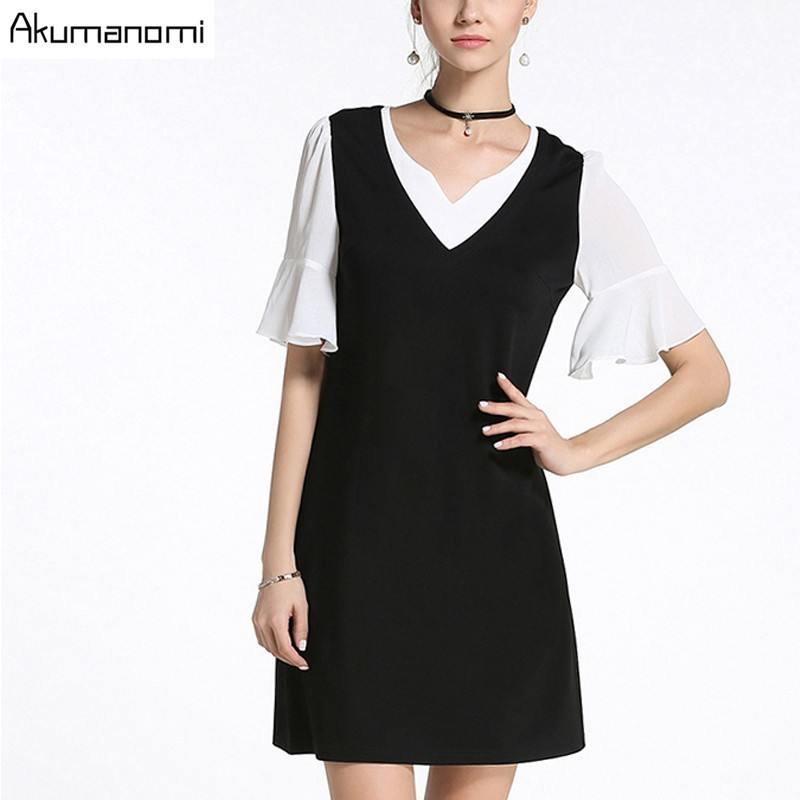 Dress V neck Heart shaped Collar Horn Sleeve False Two Pieces Black White Patchwork Summer Dress Plus Size 5XL 4XL 3XL 2XL XL L
