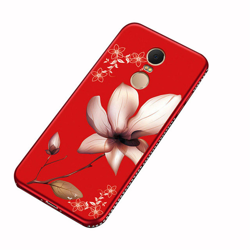 5 Plus Rhinestone Frame Case For Redmi 6 Pro 6A Y1 Y2 Note 5A Prime 3 4 4X Luxury 3D Relief Flower Pattern Soft Silicone Cover