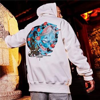 Men Demon Hoodies Thick Fleece Hooded Hoody Pullover Sweatshirt High Street Men Fashion Hip Hop Streetwear Hoodie hoodie