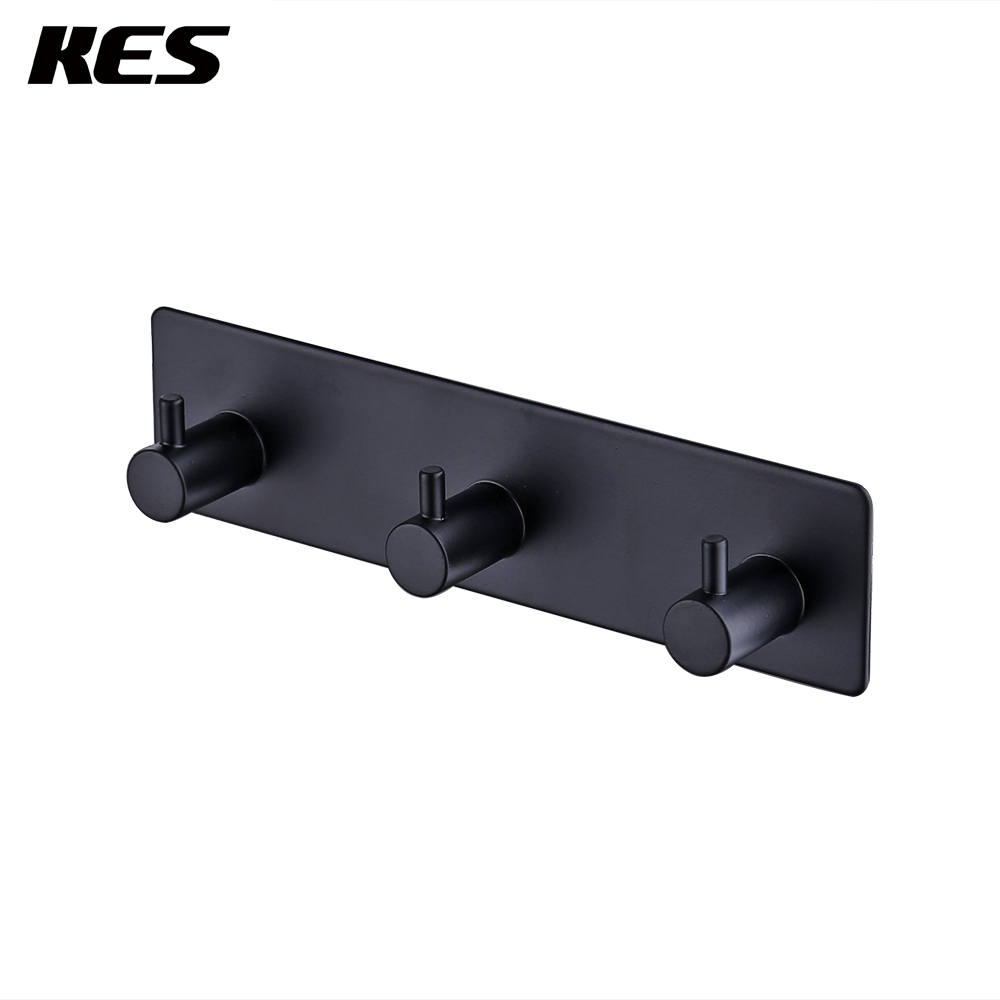 KES Self Adhesive STAINLESS STEEL 3-Hook Rack Bath Towel Hook Sticky Bathroom Kitchen Towel Hanger, Brushed/Matte Black benq w2000 dlp 1920x1080 2000 ansi lm