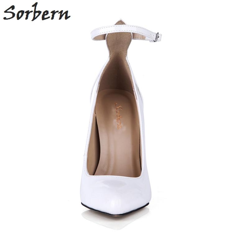 Sorbern tacones blancos Punta de puntera Vintage zapatos de mujer zapatos de baile tacones sexis correas de tobillo zapatos de moda personalizados 2018 de lujo para mujer - 3