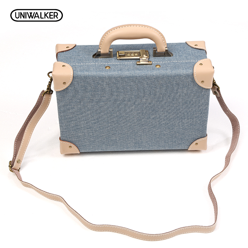 UNIWALKER 12 Inch PU Leather Small Suitcase Floral Decorative Box with Straps for Women 12 inch pu leather small suitcase floral decorative box with straps for women
