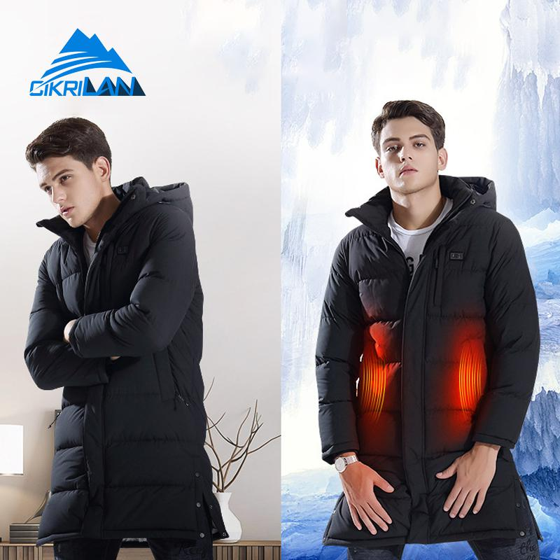 Winter Long Hooded Quilted Insulated Parka Coat Outdoor Sport Hiking Camping Heating Jacket Men Usb Charging Heated Overcoat