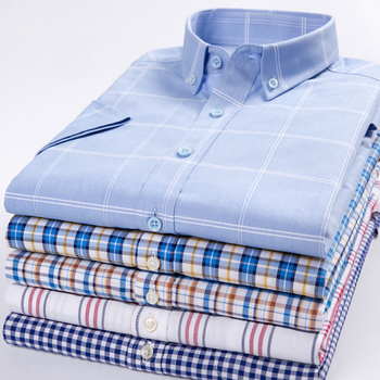 New Summer Dress Pure Cotton Colorful Printed Argyle Plaid Twill Business Casual Short Sleeve Shirt Men  Brand Thin Breathable