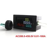 Digital LED AC Voltmeter Ammeter AC 200.0-450.0V 0.01-100A HD Color Screen 180degree Full Viewing Angle Volt Amp Watt KWh Meter
