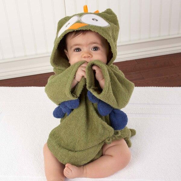 Милый детский банный халат с мышкой пандой, чистый хлопок, купальный Халат с капюшоном, Пляжное банное полотенце, спа-халат с мышкой крысы, пончо для младенцев - Цвет: OWL Size L