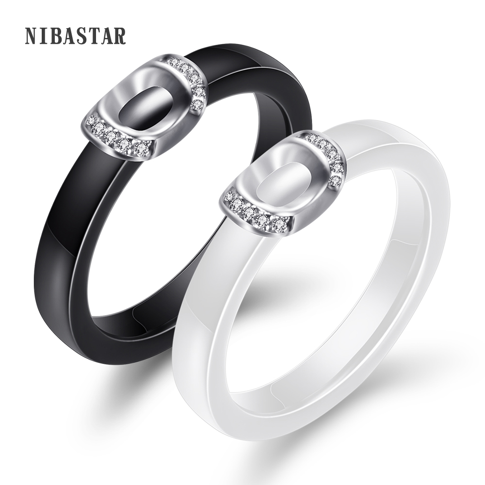"Audacious New Arrival Wedding Rings Black White Colors "" U "" Shape Metal Aaa Cubic Zircona High Polished Smooth Ring For Wedding Gift"