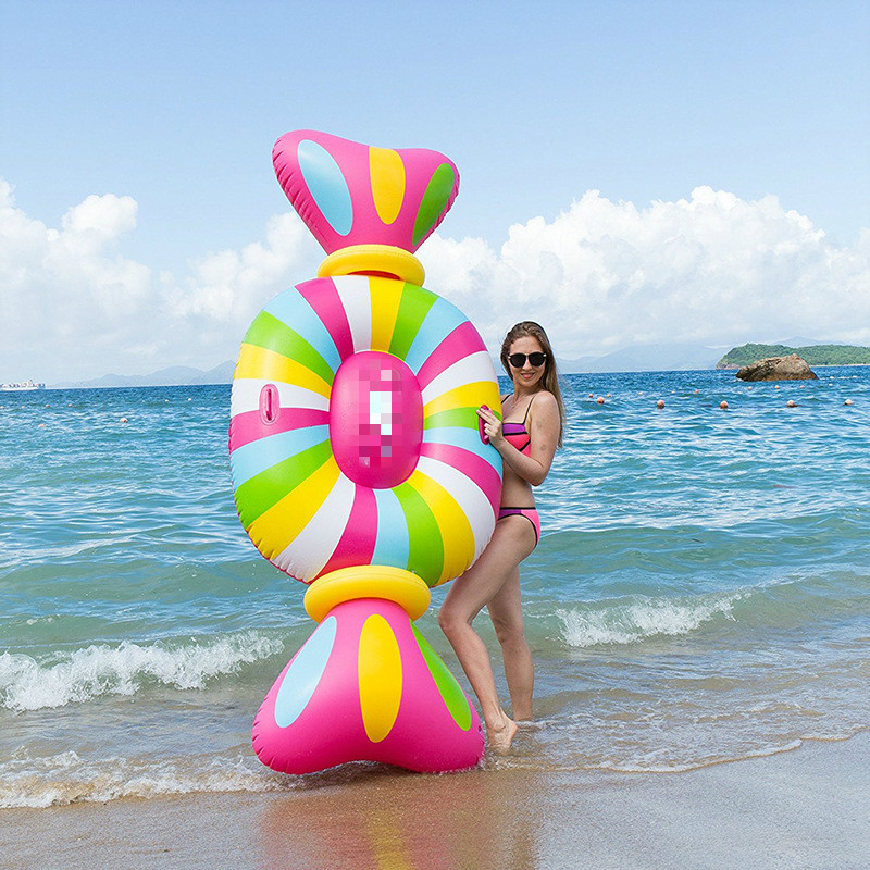 2018 Giant 259*104CM Inflatable Candy Color Pool Swimming Float Pool PVC Candy Swim Ring Adult Water Fun Party Toys Freeshipping adult inflatable swimming rings 180x155cm big pool rings pizza shape inflatable pool float hotsale holiday pool toys swim ring