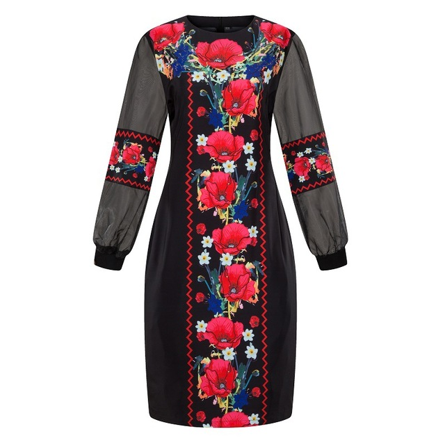 4XL 5XL Plus Size Women Dress 2019 Spring Autumn Big Size 6XL Ladies Mesh Floral Print Christmas Dress Black Midi Party Vestido 1