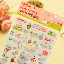 6 sheets/lot Cartoon cute cat PVC paper sticker package DIY diary decoration sticker album scrapbooking(China)