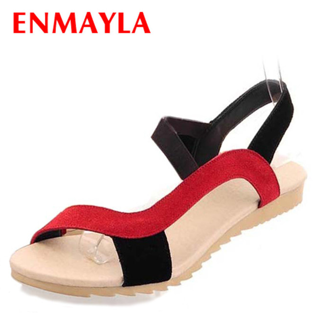 db5b3fa4418 ENMAYLA Fashion Flats Heel Women Sandals Flat Ladies Shoes Woman Mix Colors Red  Black Wholesale Low Price Causal Shoes
