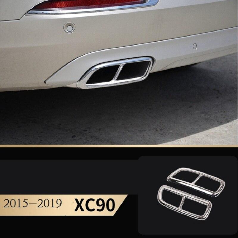 Accessoires de voiture pour Volvo 2015-2019 xc90 modèle tuyau d'échappement arrière en acier inoxydable queue gorge couvercle décoratif autocollants de voiture