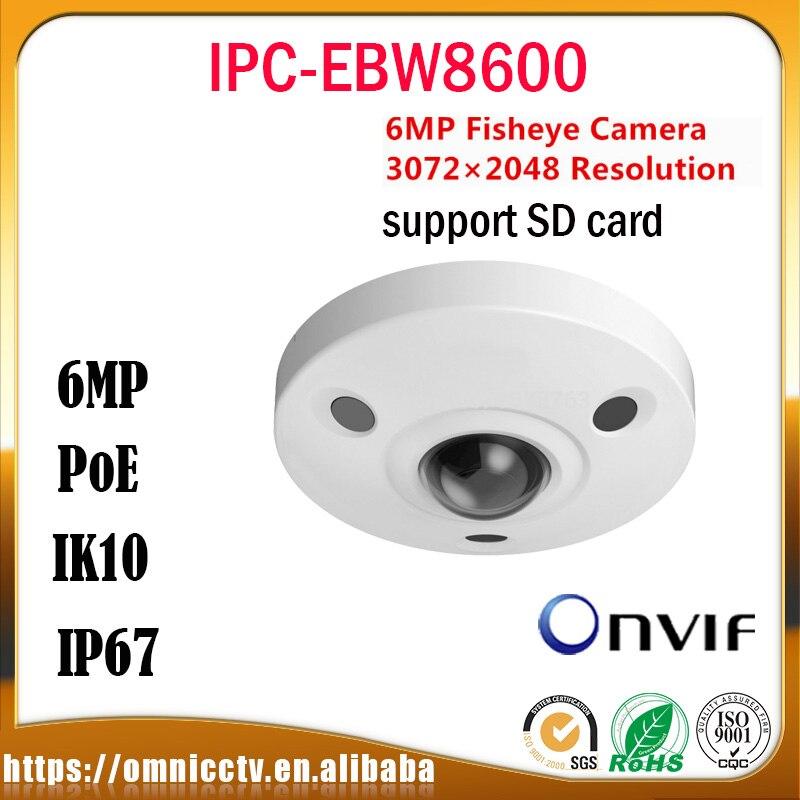 Dahua CCTV 6MP IP Fisheye Camera IPC-EBW8600 PTZ PoE HD Built in Mic SD IP67 IK10 Night Version Surveillance Dome Camera монитор состава тела omron bf214 hbf 214 ebw