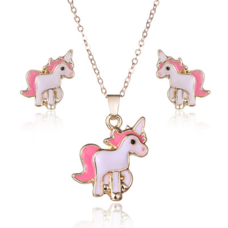 Hot Sale Pink Animal Jewelry Set Chain Kids Jewelry Cartoon Horse Unicorn Necklace Earring Unicorn Jewellery Sets For Girls