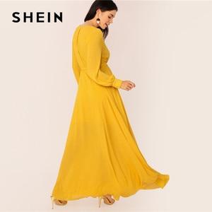 Image 2 - فستان ماكسي نسائي من SHEIN مزود بحزام ذاتي من الخردل ، فستان حفلات برقبة عالية وخصر على شكل V ، فساتين طويلة للسيدات ربيعية بأكمام طويلة