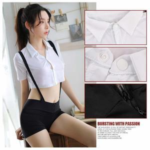 Image 4 - ملابس داخلية مثيرة شقية للطالبات ملابس داخلية مثيرة سراويل بحمالات مع قميص ملابس داخلية بيضاء