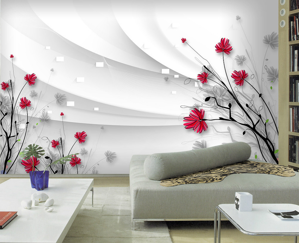 drawing line living flowers wallpapers sofa painted personalized backdrop pintado papel