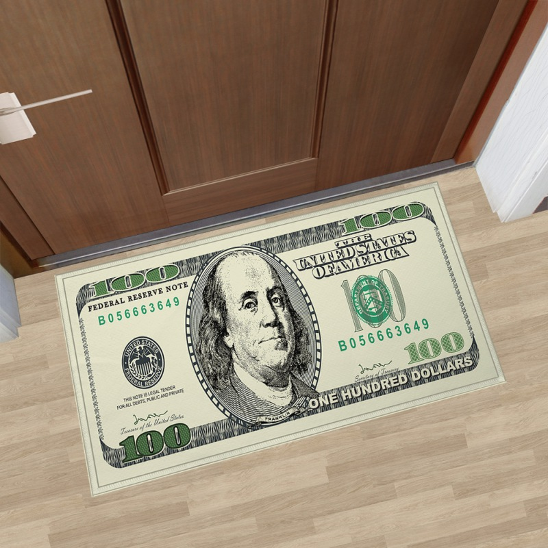 One Hundred Dollar 100 Bill Printed Area Rug With Non Slip Backing Modern Home Decorstion Carpet Runner Mats in Rug from Home Garden
