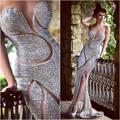 Luxy Beading Prom Vestidos Sexy Colher Cristal Completa Trumpet/Mermaid Dress Celebridade Para o Desgaste da Noite Elegante Vestidos 2016