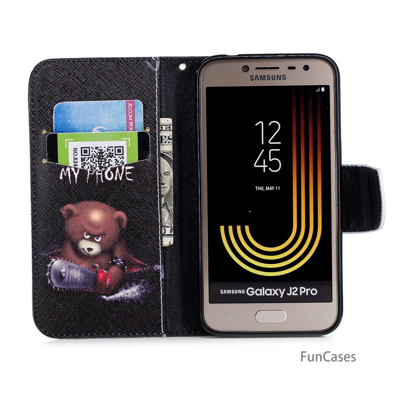 Butterfly Flip Flip Phone Case sFor Funda Samsung J2 Pro 2018 Card slot Case Shell Flip Phone Case Samsung Galaxy J2 Pro 2018
