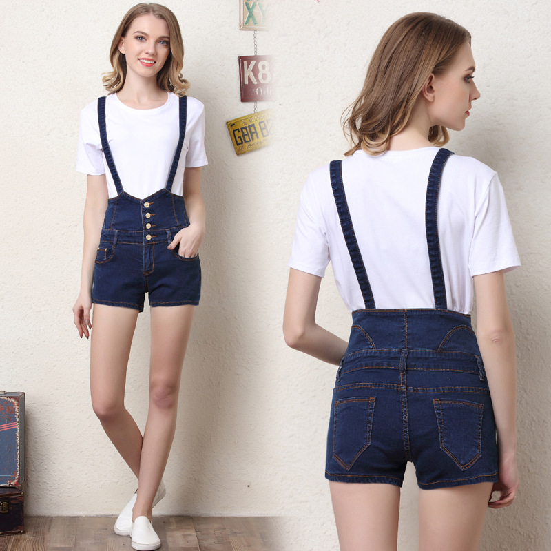 2017 Fashion 6 Buttons Retro Elastic Outfits Strap High Waist Shorts Feminino Denim Short For Women