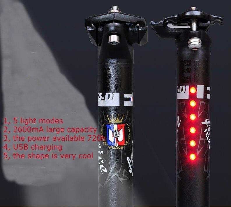 aliexpresscom koop nieuwe met usb led verlichting fiets zadelpen frosted 316350mm aluminium mountain racefiets zadelpennen fiets deel bicicleta van