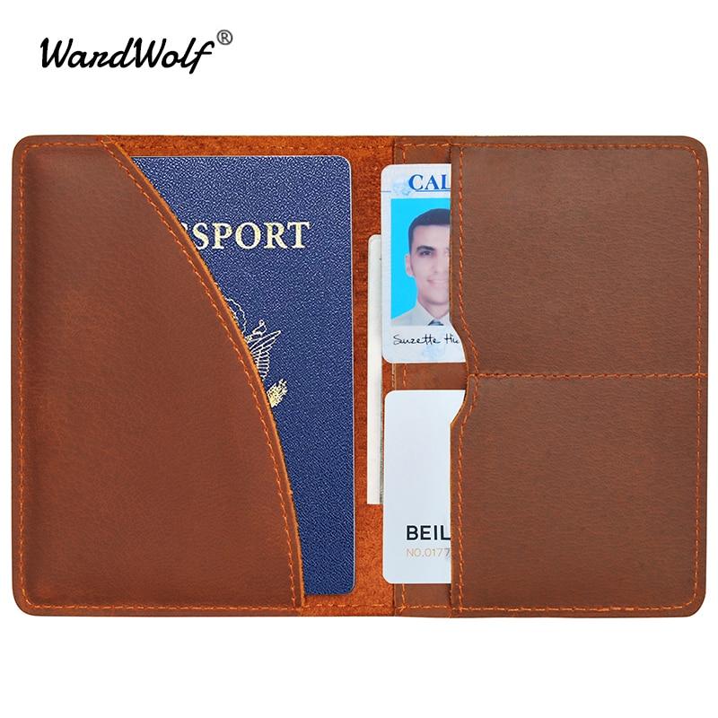 Wolves Genuine Leather Passport Holder Wallet Case Cover for Men Women