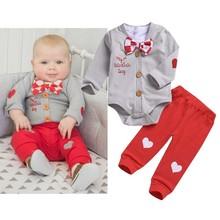 3 szt Zestaw ubrań dla chłopców Valentine zestawy ubranek dla niemowląt kombinezony dla niemowląt Gentleman zestawy strojów koszula z muszką + płaszcz + spodnie wiosna tanie tanio Dziecko Moda Bawełna Poliester Czesankowej Unisex Pełna List O-neck Przycisk zadaszone REGULAR cotton polyester YCWJ-599