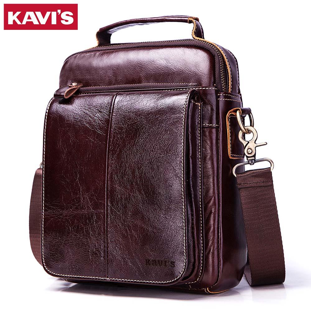 KAVIS 100% Cowhide Genuine Leather Original Messenger Bag Men Shoulder Bag Crossbody Handbag Bolsas Sling Chest Clutch for Male    1