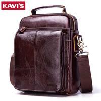 KAVIS 100% Cowhide Genuine Leather Original Messenger Bag Men Shoulder Bag Crossbody Handbag Bolsas Sling Chest Clutch for Male
