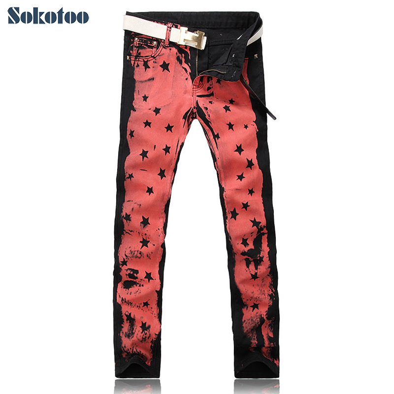 Sokotoo Men's fashion red pink colored drawing print jeans Male painted stars personality slim denim pants Free shipping fashion men s clothing print jeans male slim elastic colored drawing personality trousers flower trousers