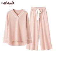 Fdfklak Pijamas Feminino 2018 New Korean Cotton Pajamas Long Sleeve Sleepwear Pyjamas for Women Spring Autumn Pijama Set