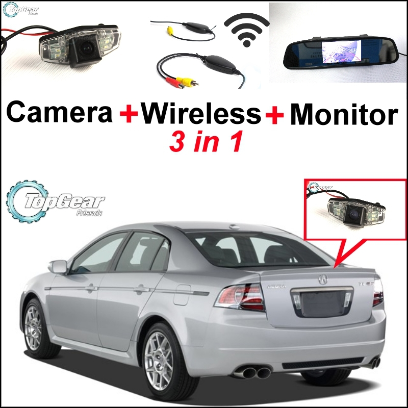 3 in1 Special Rear View Camera + Wireless Receiver + Mirror Monitor  Easy DIY Backup  Parking System For Acura CL  EL wireless pager system 433 92mhz wireless restaurant table buzzer with monitor and watch receiver 3 display 42 call button