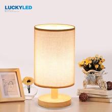 Luckyled rocznika tabeli światła Drewna Biurko Lampy E27/E26 uchwyt Retro Lampki Nocne z abażur Do Domu Sypialnia nocne światło