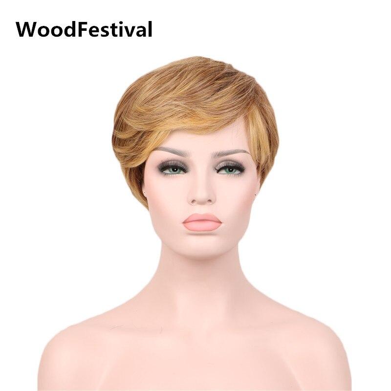 Woodfestival womens mãe estilo cosplay perucas curtas resistente ao calor peruca sintética