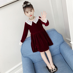 Image 3 - 4Colors New Girl Gold Velvet Spring Autumn Dress Girls Kids White Lace Flower Princess Dresses Children Clothes 3 14T