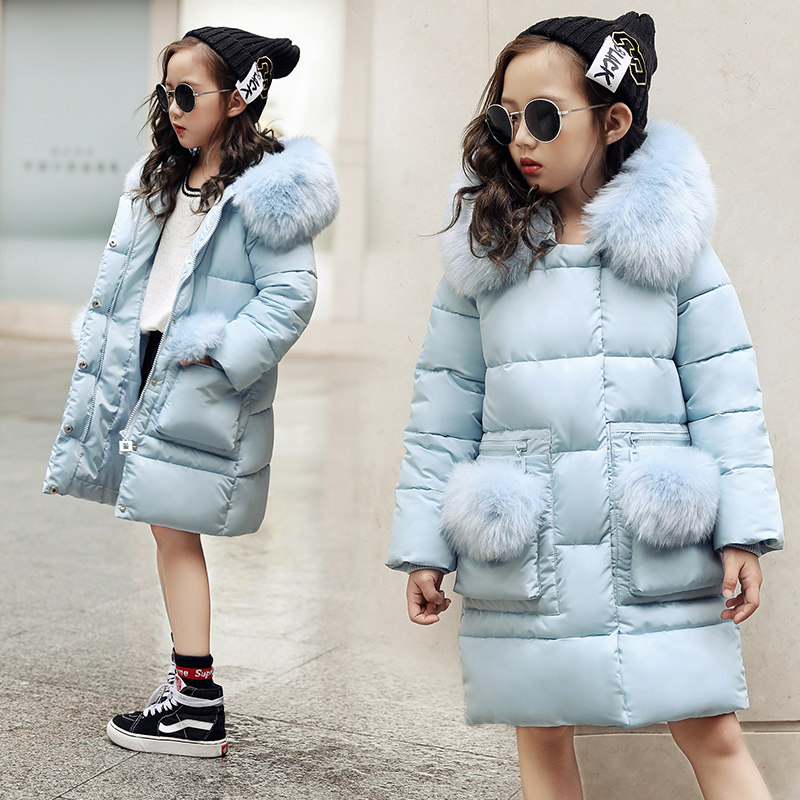2018 New Blue Children Winter Jacket Girl Winter Coat Kids Warm Thick Fur Collar Hooded long down Coats For Teenage 6 8 10 12 14 olekid 2018 new 5 14 years children winter outerwear coat hooded thick warm long jacket for girl brand teenage girl parka
