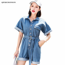 Denim Jumpsuit Women Summer Overalls 2018 Europe America Style Short Sleeve Playsuits Rompers Womens Shorts Combinaison