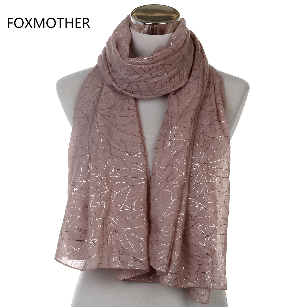 d441f62b9 Free Shipping 2018 New Fashionable Ladies Shiny Pink Grey Navy Bronzing  Gold Tree Branches Scarf Shawl For Womens -in Women's Scarves from Apparel  ...