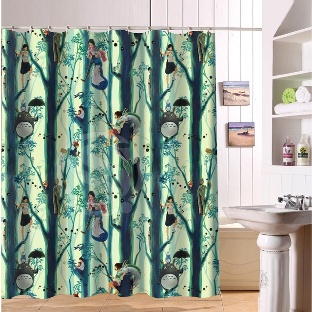 XG Hot Animes Shower Curtain Spirited Away Princess Mononoke Custom Unique Waterproof Bath Curtains 36x72
