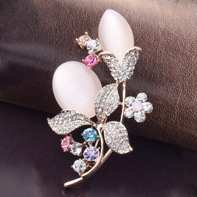 Colors crystals flower cameo brooches women